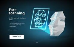 Crear una llave electrónica Concepto de exploraci?n de la cara Concepto de detecci?n de la cara explorando el adelanto de tecnolo libre illustration