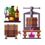 Creare un set di strumenti dell'enologo e del vino Immagine Stock Libera da Diritti
