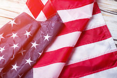 Creased flag of USA. Stock Photo