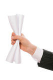Creased paper in hand Royalty Free Stock Photo