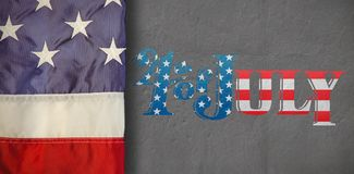 Composite image of creased us flag. Creased US flag against grey vector illustration