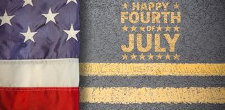 Composite image of creased us flag. Creased US flag against yellow road marking on road surface vector illustration