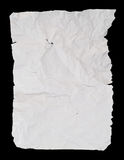 Creased and wrinkled crumpled white paper sheet. Isolated over black background Royalty Free Stock Photo