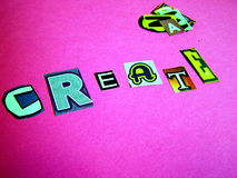 Create. The word create in a various fonts Royalty Free Stock Images