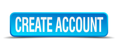 Create account blue square isolated button Stock Images