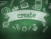 Create against green chalkboard Stock Image