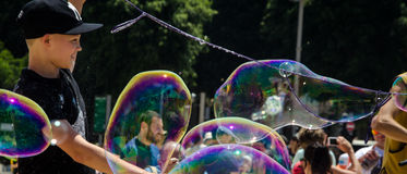 Create big bubbles Royalty Free Stock Image