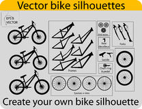 Create bike silhouettes. Vector elements of bikes. You can create your own bike silhouettes using various  elements from this vector pack Stock Photos