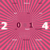 Create calendar 2014 on rays background Royalty Free Stock Photo