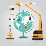 Create content. Communication online business to globe aroun the world with connection Stock Image