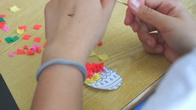 Create crafts from paper. Woman create crafts from paper stock video footage