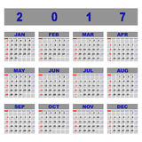 Create demo 2017 calendar template. Stock vector Stock Illustration