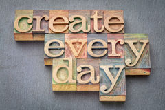 Create every day in wood type Stock Photo