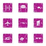 Create icons set, grunge style. Create icons set. Grunge set of 9 create vector icons for web isolated on white background Stock Photography