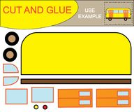Create the image of bus using scissors and glue. Educational paper kids game. Vector illustration.  Stock Photography
