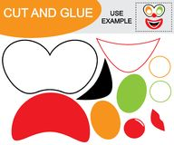 Create the image of face of clown using scissors and glue.. Educational game for children Stock Photography
