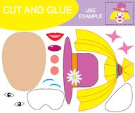 Create the image of face of girl clown using scissors and glue. Paper game for children. Vector illustration stock illustration