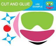 Create the image of mask of clown using scissors and glue. Educational game for children. Vector illustration Royalty Free Stock Images