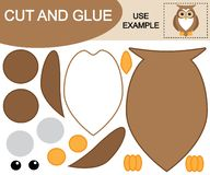 Create the image of owl using scissors and glue. Kid's game. Vector illustration royalty free illustration