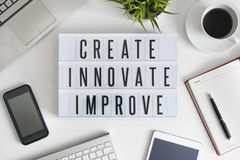 Create, innovate and improve. Words on office table with computer, coffee, notepad, smartphone and digital tablet Stock Photos