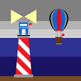 Create lighthouse and balloon at night. Create lighthouse and balloon scenery, stock vector Royalty Free Stock Photos