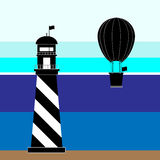 Create lighthouse and balloon scenery. Stock vector Royalty Free Stock Photography