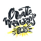 Create Memories concept, inspirational calligraphic lettering qu Stock Images
