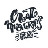 Create Memories concept, inspirational calligraphic lettering qu Royalty Free Stock Image