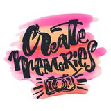 Create Memories concept, inspirational calligraphic lettering qu Stock Photography