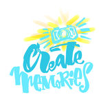 Create Memories concept, inspirational calligraphic lettering qu Royalty Free Stock Photography