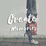 Create Memories Happiness Enjoyment Concept. Woman Standing Create Memories Happiness Enjoyment Stock Photos