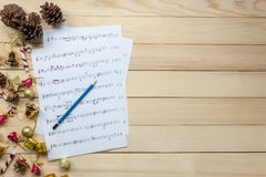 Create music sheet note paper by myself.Top view pencil,music sh Royalty Free Stock Photography