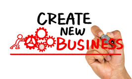 Create new business handwritten on whiteboard Stock Images
