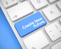 Create New Future - Message on the Blue Keyboard Keypad. 3D. Business Concept: Create New Future on Aluminum Keyboard lying on Blue Background. Close Up View on Stock Images