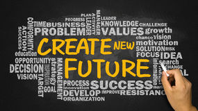 Create new future with related word cloud hand drawing on blackb Stock Image