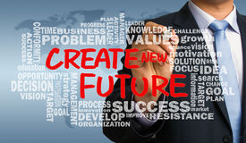 Create new future with related word cloud hand drawing by busine Stock Images