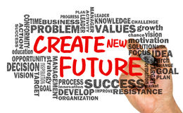 create new future with related word cloud hand drawing on whiteboard royalty free stock photos