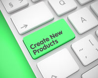 Create New Products - Text on Green Keyboard Keypad. 3D. Stock Photos