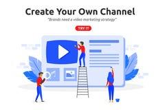 Create online video channel concept modern flat design. Video ma. Rketing content vector illustration
