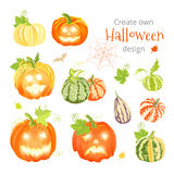 Create own Halloween design vector set. All elements are  and editable Royalty Free Stock Photo