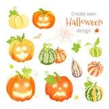 Create own Halloween design vector set Royalty Free Stock Photo