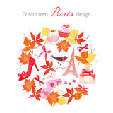 Create own Paris autumnal design vector set. All elements are is Stock Image