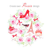 Create own Paris design vector set. All elements are isolated an. Create own Paris design vector set. Rose bunches, fashion shoe, bows, key, strawberry cake Stock Photo