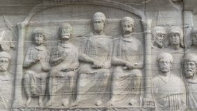 Sculpted to the wall. Sultan Ahmet square, Istanbul, Turkish royalty free stock photography