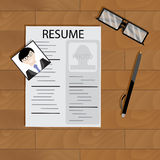 Create resume desktop top view. Employment motivational, write resume to hired, vector illustration Stock Photos