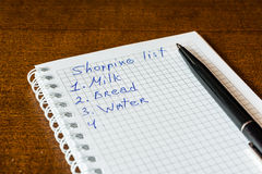 Create a shoping list for walk to the shop Stock Photography