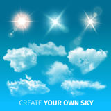 Create Sky Realistic Clouds Icon Set Stock Images