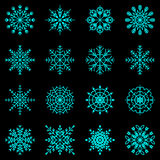 Create snowflake icons on black background Royalty Free Stock Photo