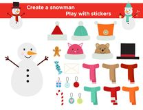 Create a snowman, stickers game. Funny game with stickers for children. Create a snowman, cute winter hats, scarfs and decoration. Vector illustration Stock Image