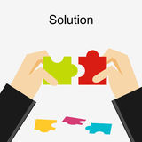 Create a solution illustration. Making a solution concept. Business people with puzzle pieces. Flat design illustration concepts Stock Photos